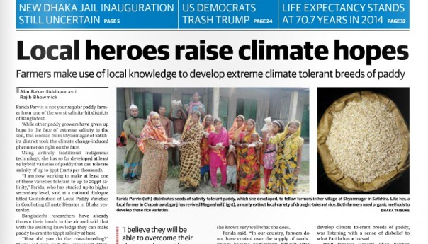 Newspaper news:Local heroes raise climate hopes