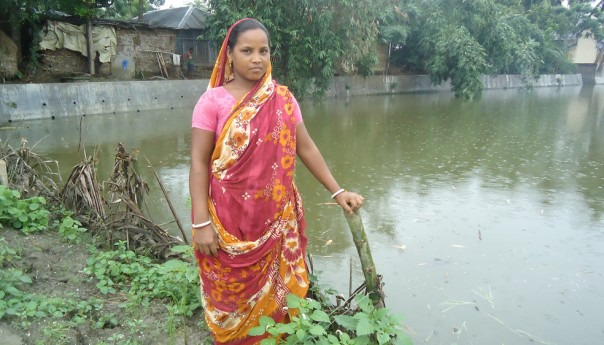 A community pond re-excavated through an adivashi woman's leadership